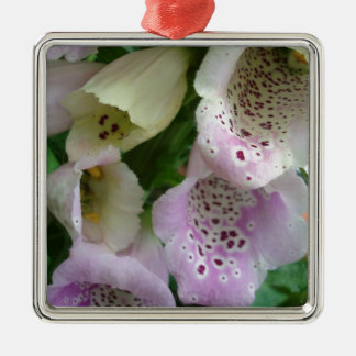 Photographic close-up of a foxglove Silver-Colored square decoration