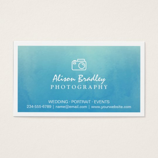 Photography Blue Watercolor Wedding Photo Showcase Business Card