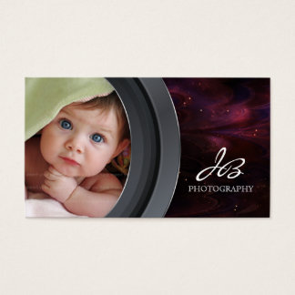 Photography Business Card Black Pink Star Sky