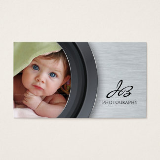 Photography Business Card Metal Chrome Template