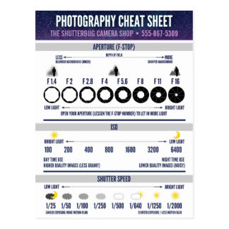 Photography Cheat Sheet Custom Postcard