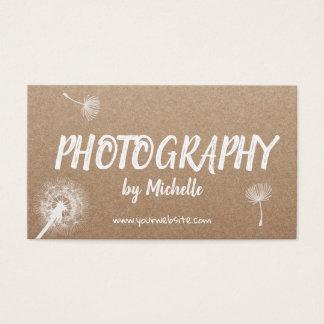 Photography Elegant Dandelion Rustic Photographer Business Card