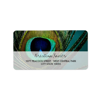 Photography Elegant Peacock Feather Address Label