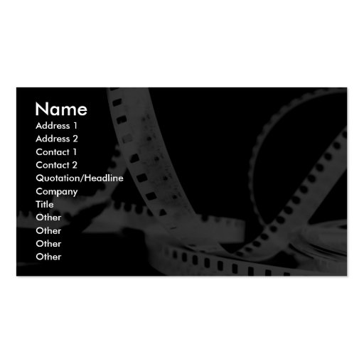 Photography, Flim, Entertainment Pack Of Standard Business Cards
