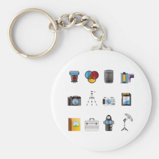 Photography Icon Basic Round Button Key Ring