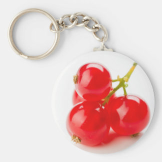 Photography of mature red currants and with much basic round button key ring