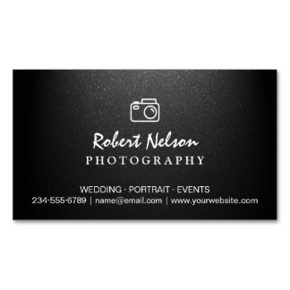 Photography Photographer Camera Simple Matte Black Magnetic Business Cards