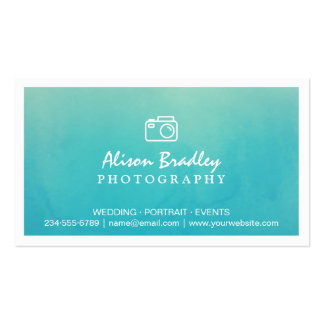 Photography Watercolor Aqua Green Photo Showcase Pack Of Standard Business Cards