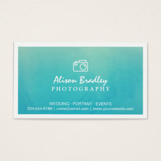 Photography Watercolor Aqua Green Photo Showcase Business Card