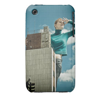 photomontage of young girl on city shot Case-Mate iPhone 3 cases