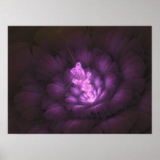Photon Flower - Purple -Digital Fractal Art Poster