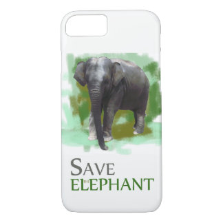Photorealistic Painted Green Save the Elephant iPhone 8/7 Case