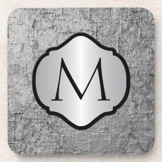 Photorealistic Silver Gray Metal Monogrammed Beverage Coasters