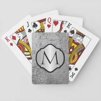 Photorealistic Silver Gray Metal Monogrammed Playing Cards
