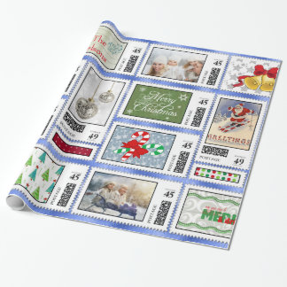 Photos Stamp Collage Blue PSCR Wrapping Paper
