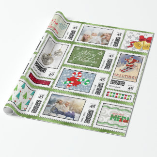 Photos Stamp Collage Green PSCR Wrapping Paper