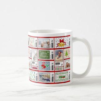 Photos Stamp Collage Red PSCR Basic White Mug