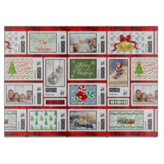 Photos Stamp Collage Red PSCR Cutting Board