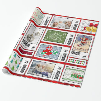 Photos Stamp Collage Red PSCR Wrapping Paper