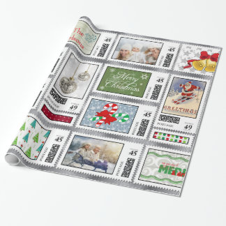 Photos Stamp Collage Silver PSCR Wrapping Paper