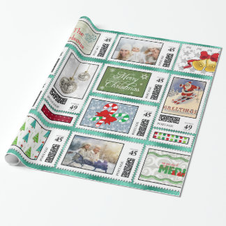Photos Stamp Collage Turquoise PSCR Wrapping Paper