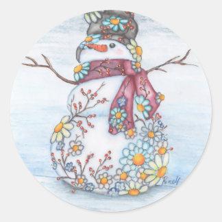 photoscape snowman classic round sticker