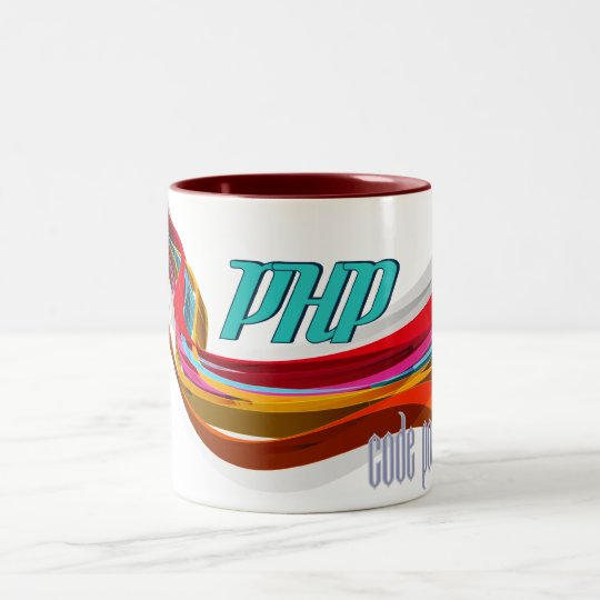 PHP- Red Orange Grey Smooth wave Two-Tone Coffee Mug