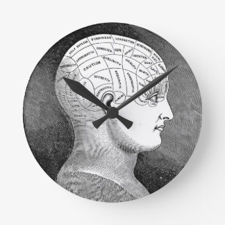 Phrenology Head Diagram Round Clock