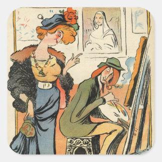 Phryne: caricature of an artist's model square sticker
