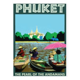 Phuket vintage Travel Poster. Postcard