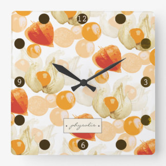 Physalis | Winter Cherries Square Wall Clock