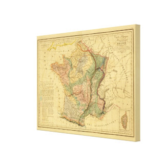 Physical and mineralogical map of France Canvas Print