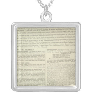 Physical Chart of the Atlantic Ocean Silver Plated Necklace