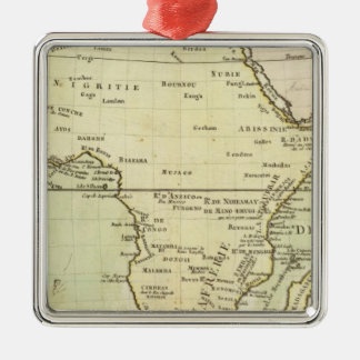 Physical map of Africa Silver-Colored Square Decoration