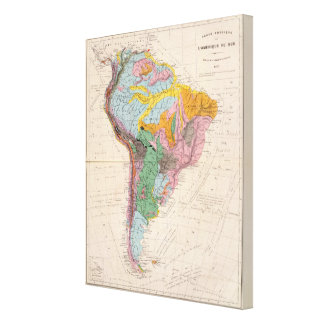 Physical Map of South America Canvas Print