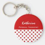 Physical Therapist Cute Polka Dot Keychain Gift