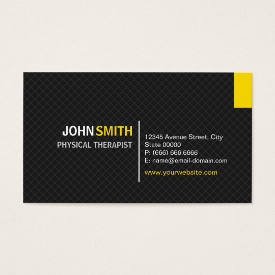 Physical Therapist - Modern Twill Grid Business Card