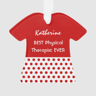 PHYSICAL THERAPIST Profession RED Polka Dots A10 Ornament
