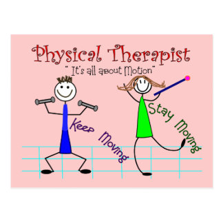 "Physical Therapist Stick People ""Keep Moving"" Postcard"