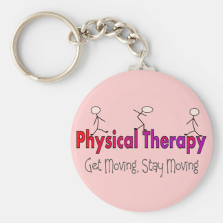 Physical Therapy Stick People Design Basic Round Button Key Ring