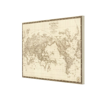 Physical world map canvas print