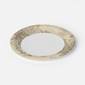 Physical world map paper plate