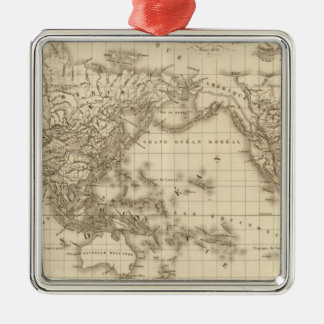 Physical world map Silver-Colored square decoration