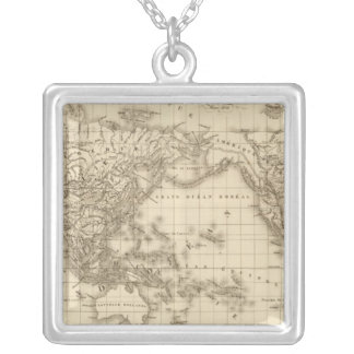 Physical world map silver plated necklace