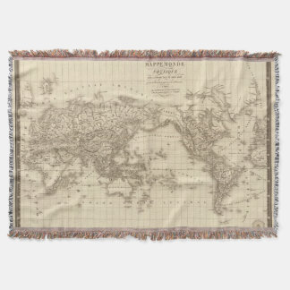 Physical world map throw blanket