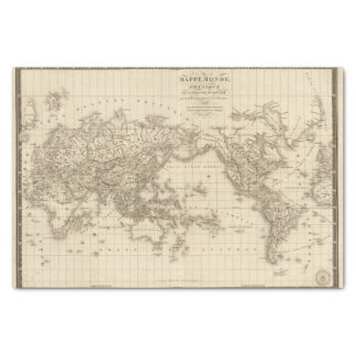 Physical world map tissue paper