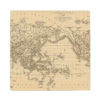 Physical world map wood coaster