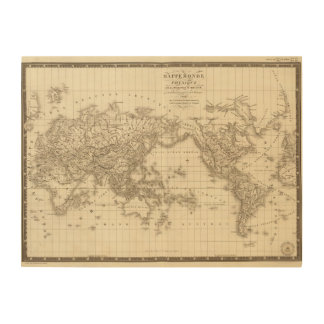 Physical world map wood wall art
