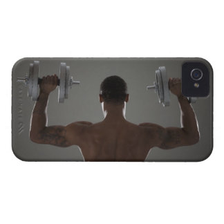 Physically fit man lifting dumbbells 2 Case-Mate iPhone 4 case