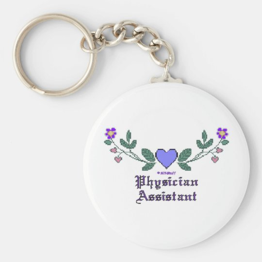Physician Assistant Cross Stitch Basic Round Button Key Ring